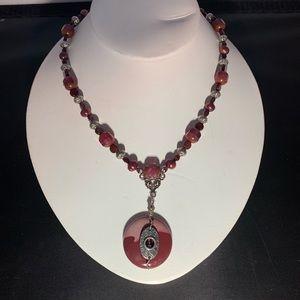 Original pink Mookaite Jasper gemstone necklace